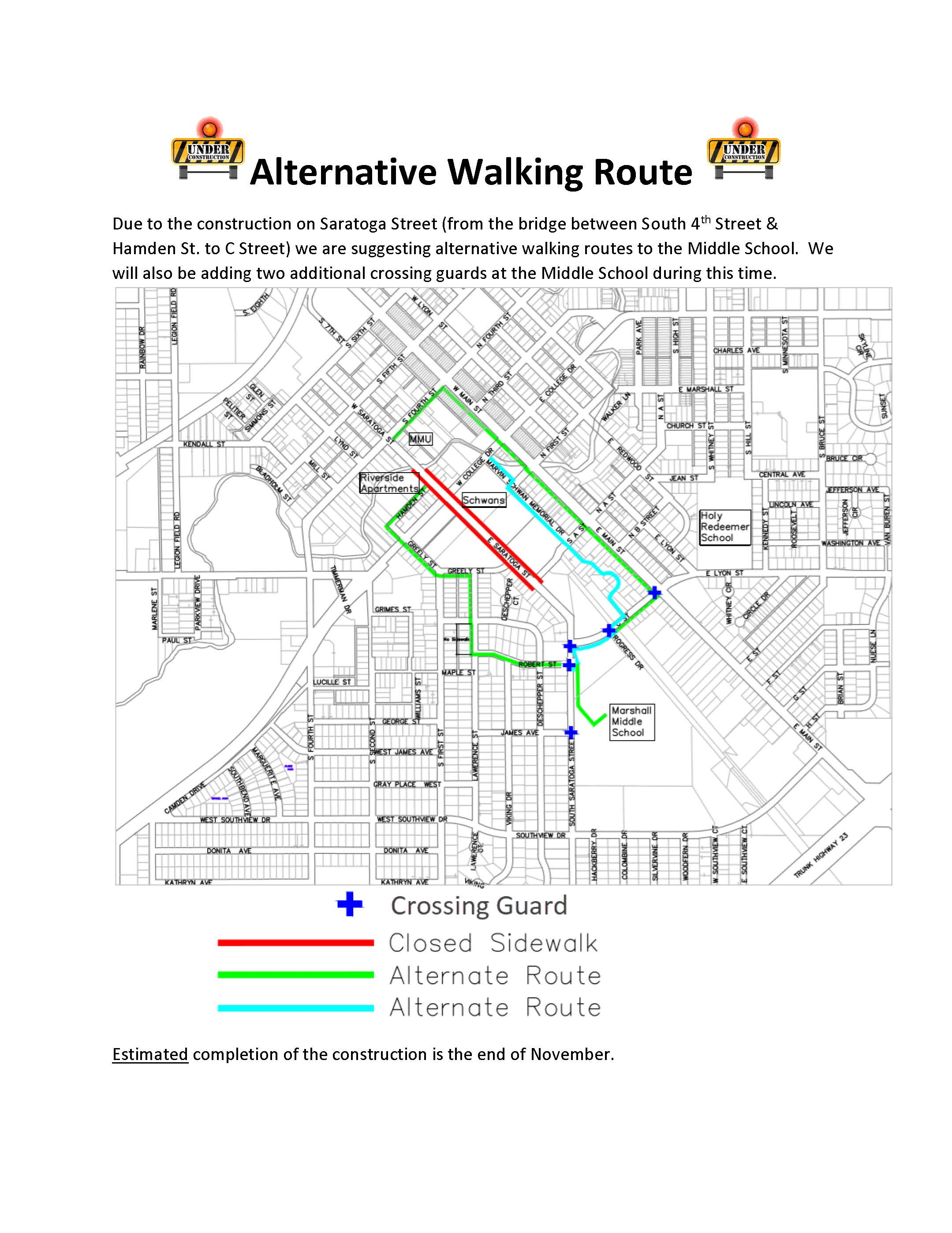Saratoga Street is closed to walkers and bikers.  Find your alternative route to school!