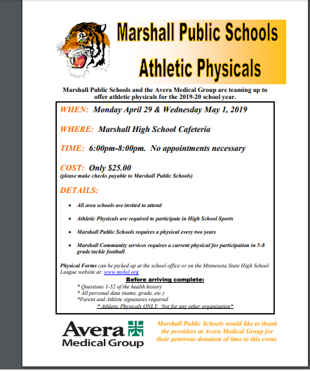 sports physical form mn 2019  It is Athletic Physical Time! Monday, April 17th and ...